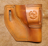 "Gary C's Avenger Left Hand Holster for S & W J Frame 3"" Revolver, Antiqued Golden Brown Leather  J-032"