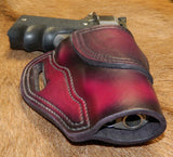"Gary C's Avenger Right Hand Holster for Colt 1911 Combat Commander 4.25"" & Similar 1911s, Dark Cherry Leather. C-065"