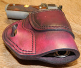 "Gary C's Avenger Right Hand Holster for Colt 1911 Officers 3.5"" & Similar 1911s, Dark Cherry Leather. O-029"