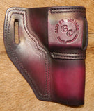 "Gary C's Avenger Left hand Holster for Ruger SP101 4.2"" Revolver.  Dark Cherry Leather RR-061"