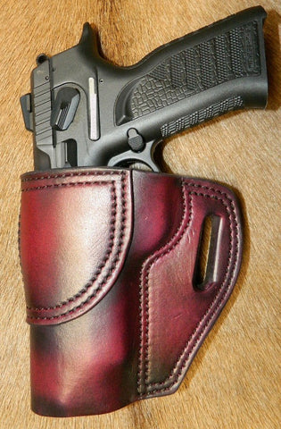 "Gary C's Avenger Left Hand Holster for EAA/Tanfoglio Witness P Polymer Full Size 4.5"", with Rail. Dark Cherry Leather I-003"