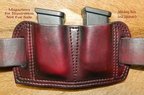 Leather Double Magazine Pouch for Glock G26/27/33 fits 9/40/357sig. Dark Cherry Leather 77-018