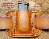 Leather Single Magazine Pouch for Single Stack .380 cal Mag, fits Glock G42 Mag and similar size, Antiqued Golden Brown 11-026