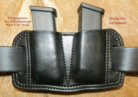 Leather Double Magazine Pouch for Glock G17/19/22/23/31/32 fits 9/40/357sig. Black. 7-022