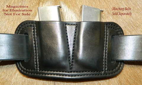 Leather Double Magazine Pouch for Sig Sauer P938 and similar size mags. Fits 9mm single stack mags. Black leather. 2-101