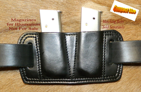Leather Double Magazine Pouch for COMPACT 45 cal Single Stack Mags, fits 1911's Black 1-217