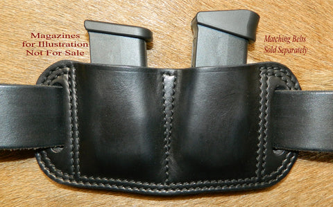 Leather Double Magazine Pouch for Glock G43 9mm Single Stack Mags, Black. 12-026