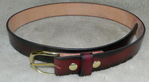"Leather Belt, Gun or Work Belt, 11 oz single layer heavy tooling leather, 1-1/2"" wide, Size 36 in Dark Cherry. **See Sizing in DESCRIPTION**  MD-022"