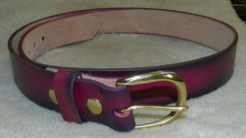 "Leather Belt, Gun or Work Belt, 11 oz single layer heavy tooling leather, 1-1/2"" wide, Size 38 in Dark Cherry. **See Sizing in DESCRIPTION**  MD-021"