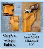 "Gary C's Avenger Left Hand Holster for Ruger NM Blackhawk 6-1/2"" Revolver.  Antiqued Golden Brown Leather W-096"