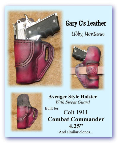 "Gary C's Avenger Left Hand Holster for Colt 1911 Combat Commander 4.25"" & Similar 1911s, with Sweat Guard option. Dark Cherry Leather. C-061"