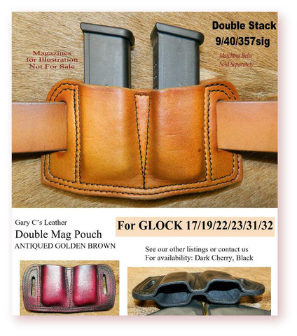 Leather Double Magazine Pouch for Glock G17/19/22/23/31/32 fits 9/40/357sig. Antiqued Golden Brown. 7-017