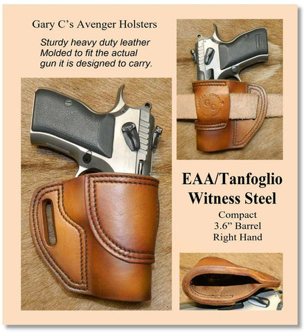 Gary C's Avenger Right Hand Holster for EAA/Tanfoglio Witness Compact Steel, No Rail. Antiqued Golden Brown Leather. E-016