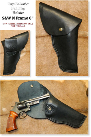 "Gary C's Full Flap Right Hand Holster for S & W N Frame 6"" Revolvers, Black Heavy Leather  FLP-005"