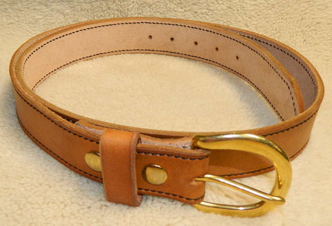 "Leather Belt with Stitched Edge, Gun or Work Belt, 10-11 oz single layer heavy tooling leather, 1-1/2"" wide, Size 44 in Antiqued Golden Brown. **See Sizing in DESCRIPTION**  SLG-026"