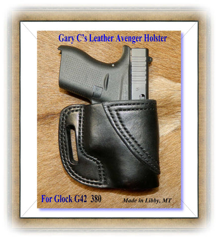 Gary C's Avenger Right Hand Holster for Glock G42 380.  Black Leather BB-012