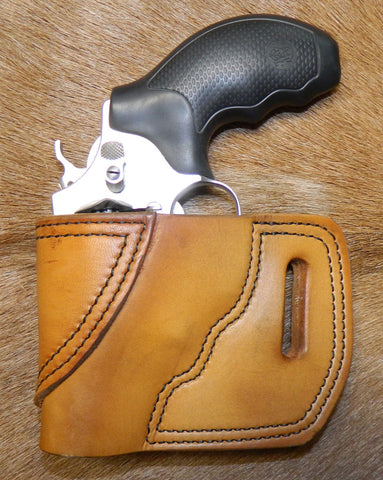 "Gary C's Avenger Left Hand Holster for S & W J Frame 2"" Revolver, Antiqued Golden Brown Leather  JJ-045"