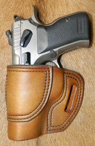 Gary C's Avenger Left Hand Holster for EAA/Tanfoglio Witness Compact Steel, No Rail. Antiqued Golden Brown Leather. E-022