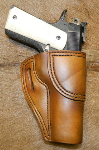 "Gary C's Avenger Right Hand Holster for Colt 1911 Government 5"" & Similar 1911s, Antiqued Golden Brown Leather. G-075"