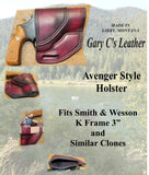 "Gary C's Avenger Right Hand Holster for S & W K Frame 3"" Revolver, Dark Cherry Leather  KK-038"