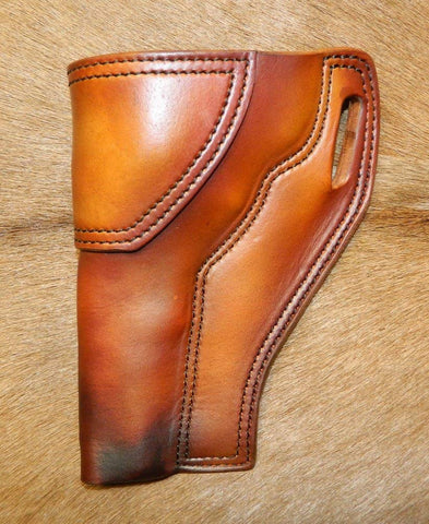 "Gary C's Avenger Left Hand Holster for S & W N Frame 6"" Revolver, Antiqued Golden Brown Leather  PPP-022"