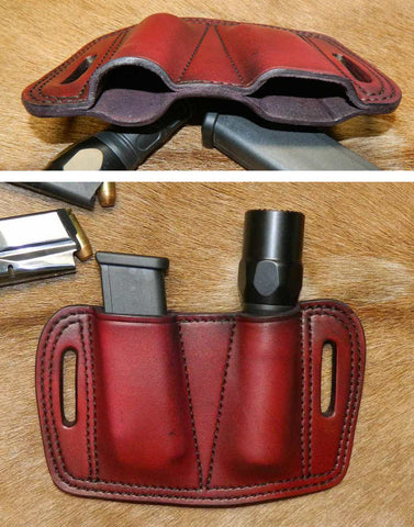 "Leather Combination Magazine /Torch Pouch. Holds ONE 1"" diameter torch/flashlight and ONE Double Stack 9mm/40cal,  15+ round magazine.  Dark Cherry Leather. 55C-002"