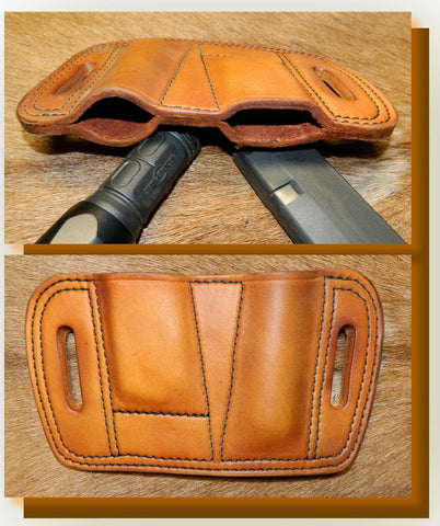 "Leather Combination Magazine /Torch Pouch. Holds ONE 1"" diameter torch/flashlight and ONE Single Stack 9mm Glock 43 magazine.  Antiqued Golden Brown Leather. 2C-003"