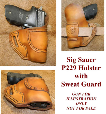Gary C's Avenger Right Hand Holster for Sig Sauer P229 with Sweat Guard. Antiqued Golden Brown Leather. SS-016