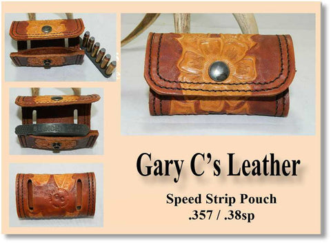Custom Hand Carved Sheridan Style Leather Speed Strip Pouch. Holds  1 six round 357 / 38sp cartridge Bianchi style strip. Gold and Brown CSP-001