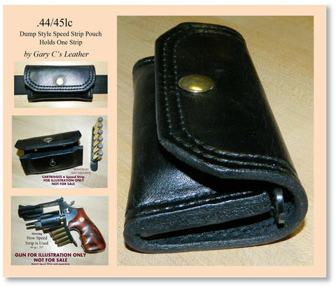 Leather Speed Strip Pouch for 44/45lc, holds 1 six cartridge Bianchi style strip. Belt, bag, pocket carry. Black 33-001