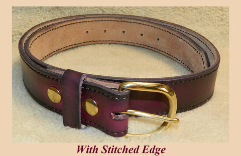 "Leather Belt with Stitched Edge, Gun or Work Belt, 11 oz single layer heavy tooling leather, 1-1/2"" wide, Size 38 in Dark Cherry. **See Sizing in DESCRIPTION**  SMD-020"