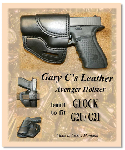 Gary C's Avenger Left Hand Holster for Glock G20/G21, Black Leather. U-011
