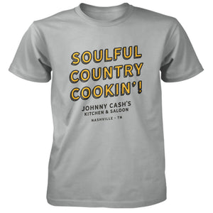 Johnny Cash's Soulful Country Cookin' Unisex Silver Tee