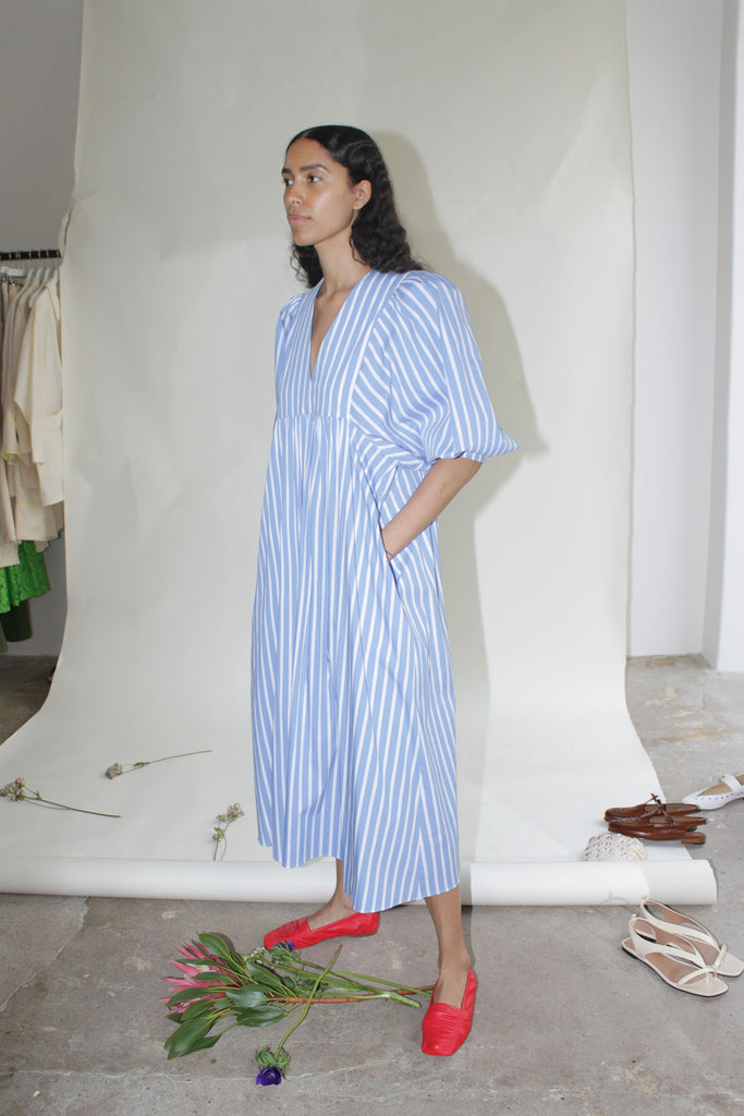 MR LARKIN, Mabel Dress, Blue Stripe