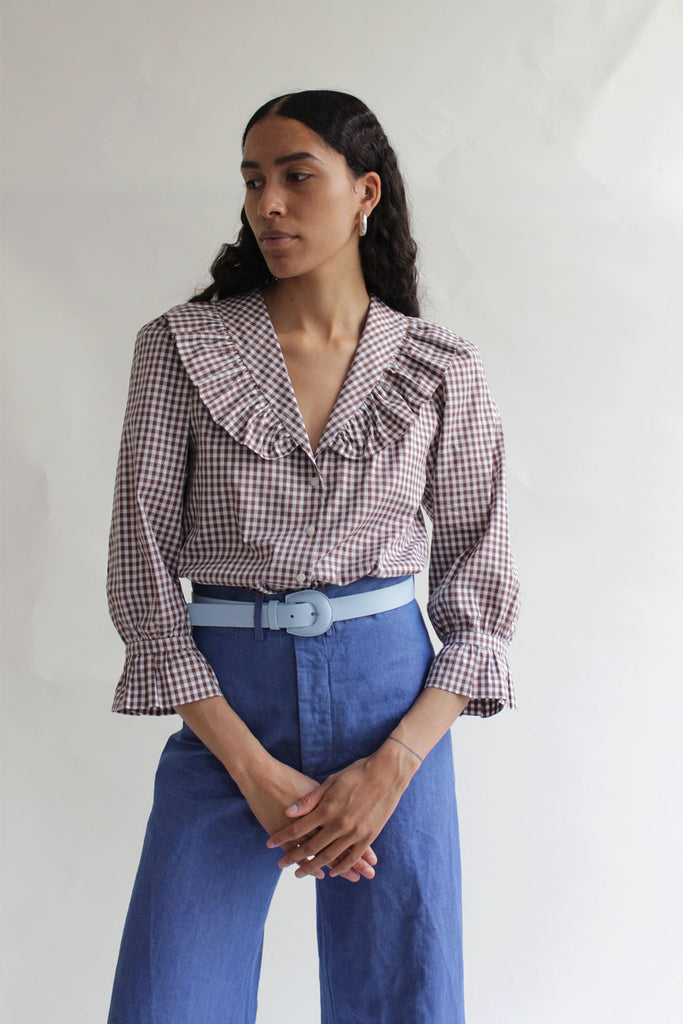 MR LARKIN, Sophie Shirt, Brown Gingham