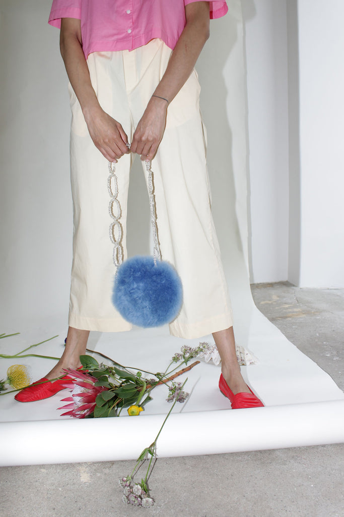 MOZH MOZH, Circle Bag, Blue Fur