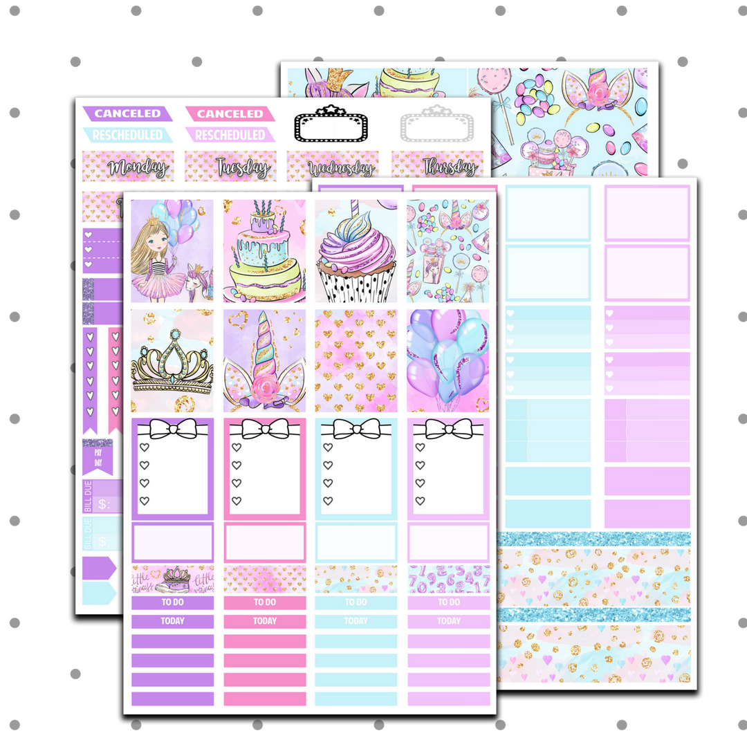 Erin Condren - Princess' Birthday Weekly Kit