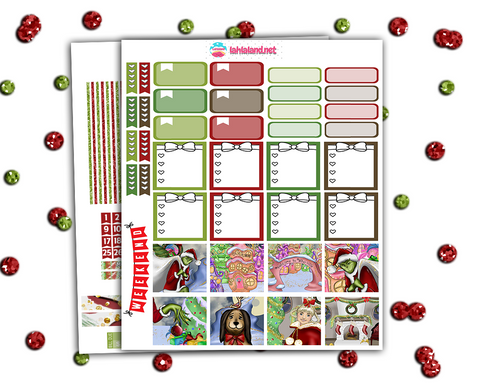 Mini Happy Planner - You're A Mean One + BONUS Christmas Countdown And Deco!