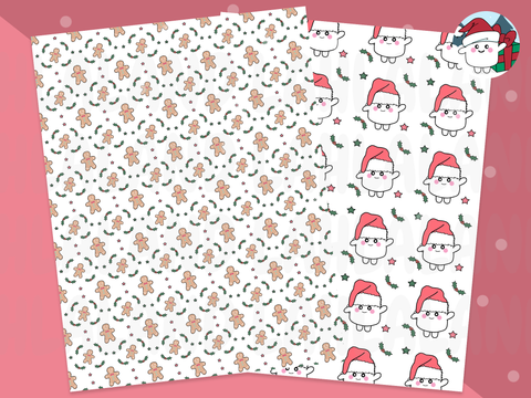Santa Tripp and Gingerbread Printable Vellum/Digital Paper