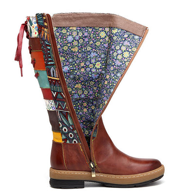 Women Bohemian Embroidery Splicing Pattern Genuine Leather Knee Boots