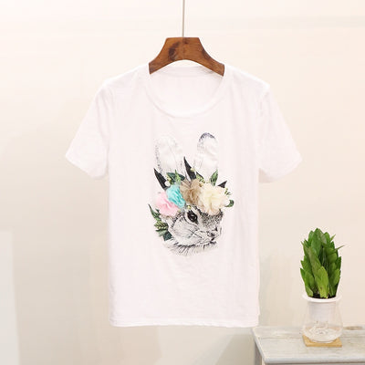 2 pcs Women 3D Floral Rabbit T-Shirt and Jeans