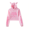 BLACKPINK Jennie Signature Cat Ear Hooded Crop Sweatshirt