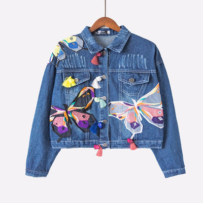 Butterfly Embroidered Crop Denim Jacket