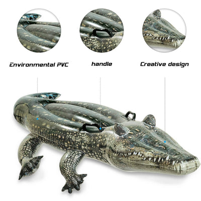 "67"" Giant Crocodile Inflatable Pool Float for Kids"