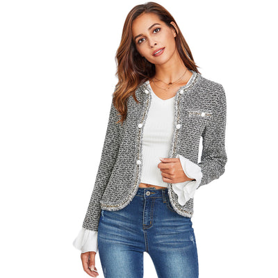 Women Ruffle Cuff Single Breasted Curved Tweed Jacket