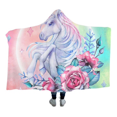 Blink Unicorn and Rose Bunch Hooded Blanket for Adults and Kids