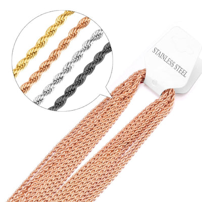 10 pcs 2mm Rose Gold and Black Stainless Steel Twisted Singapore Chains  Necklace