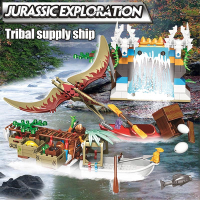 Jurassic Exploration Tribal Supply Ship Model Building Blocks 272 pcs