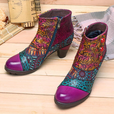 Bohemian Splicing Pattern Button Zipper Ankle Genuine Leather Boots