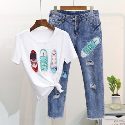 2pcs Women Shoes Design Sequin T-Shirt and Jeans